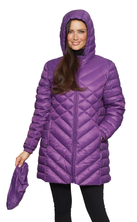 Womens Purple Feather Down Ultra Light Quilted Coat db724
